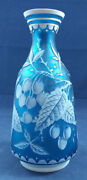 Antique Thomas Webb And Sons 3-color Blue Cameo Art Glass Vase 8-3/4