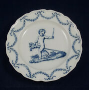 Rare Antique Meissen Blue And White Plate From The 'kinder A La Raphael' Service