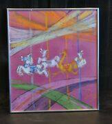 Framed Vintage Mixed Media Drawing Carousel Horses Ostrich Bright Colors - Jorg