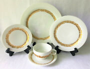 Set Of 4 Rosenthal Golden Leaves Porcelain 5 Piece Place Settings – Germany