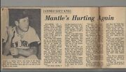 Vintage Mickey Mantle 12 Newspaper Articles And Cuts Circa 1963-67 Photos Lot 2