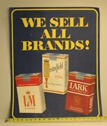 Vtg Litho Cigarette Store Display Sign Poster L And M Chesterfield Lark 28x22 Orig