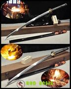 41boutique Katana Clay Tempered Pattern Folded Steel Japan Samurai Swords Sharp