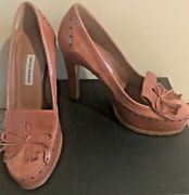 Tabitha Simmons Pink Nude Grommet Loafer Bow Leather Suede Pumps Sz 38/7.5 Nwob