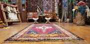 Bohemian C1930-1949and039s Antique Vibrant Multi-colored Wool Pile Rug 4and0391andtimes8and0395