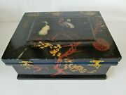 Chinese Big Black Lacquer Jewelry Trunk Box With Herons