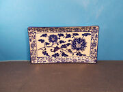 Pier 1 Dinnerware Tang Pattern Blue And White Design Sushi Tray 9 3/4 X 5 1/2