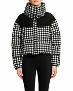 ❤️ Moncler Nil Houndstooth Quilted Puffer Black And White Jacket Size 4/8-10