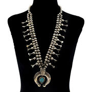 C. 1960s Navajo Turquoise And Silver Squash Blossom Necklace 28 Long