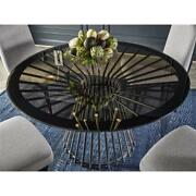 Nina Magon Serrano Round Dining Table With Glass Top In Opaque Bronze Finish