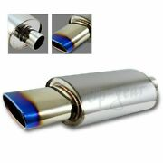 Universal 5.5 Oval Euro Burnt Tip Stainless Weld-on Exhaust Muffler 2.5inlet