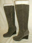 189 Franco Sarto Watch Taupe / Olive Suede Leather Zip Side Boots Size 6 M New