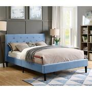 Furniture Of America Frohm Fabric Button Tufted Queen Platform Bed In Blue