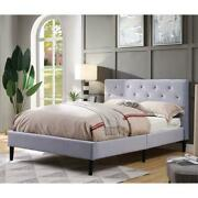 Furniture Of America Frohm Fabric Button Tufted Queen Platform Bed In Gray