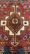 Antique1930-1940and039s Wool Pile Natural Color Nagorno-karabahk Area Rug 4andrsquo3x7andrsquo5andrdquo