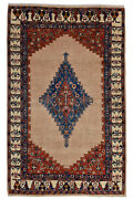 Vintage Tribal Oriental Gabbeh Rug 4and039x7and039 Beige/ivory Hand-knotted Wool Pile