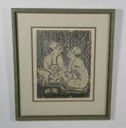 People Sitting Antique Asian Woodblock Print