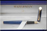Waterman Hemisphere Fountain Pen Blue Marble And Gold Fine Pt New In Box