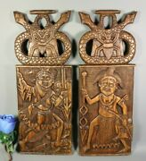 Vintage Antique Hand Carved Wood Wall Plaque Panel Pair Tribal African Pediment