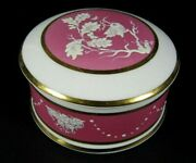 French Antique Old Paris Porcelain Jewelry Hand Enamel Painted Pink Trinket Box