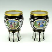 Pair Of Antique Bohemian Overlay And Enamel Glass Goblets With Courting Scene