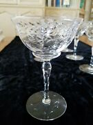 10 Rare Stunning 1930and039s Crystal Champagne Coupes Floral/ Wreath Pearls Cut Stem