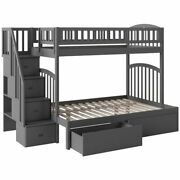 Bowery Hill Solid Wood Staircase Storage Bunk Twin Over Full In Gray
