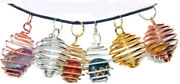 Crystalgeodeandreg Gemstone Spiral Cage Necklaces Adjustable Cord With Clasp