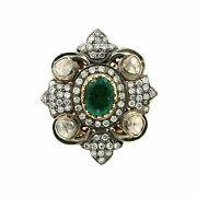 14k Yellow And White Gold Emerald Diamond Vintage Ring 0.69cttw Size 6.25