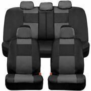 Bdk Full Set Pu Leather Car Seat Covers - Front And Rear Two-tone In Black And Gray