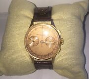 Baume And Mercier. A Fine And Rare 18ct Rose Gold Manual Wind Chronograph Wristwat