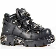 New Rock Womenand039s 110-s1 Bootie Metal Spikes Goth Punk Laced