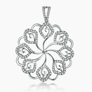 Pearl 8mm To 15mm 4/5ct Real Diamond Flower Antique Pendant Solid 18k White Gold