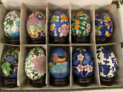 Cloisonne Decorative Eggs With Wood Stands