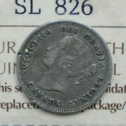 Iccs Canada 1875h- 5ct Coin Large Date Vf-20 Cert. No. - Sl 826 X