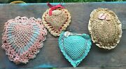 4 Antique / Vintage Crochet Pin Cushions Large Hearts Egg Oval Small Pillows