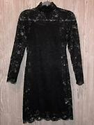 Prosecco Corded Lace Overlay High Neck Black Long Sleeve Dress New Womens Sz 2 8