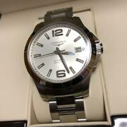 Longines Conquest Menand039s Steel Watch Automatic Silver Free Shipping From Japan