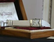 Vintage Jaeger Lecoultre Rare 1940's 10k Yg Filled Silver Dial Watch Orig Box
