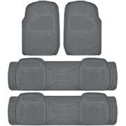 4 Piece 3 Row Gray Semi Custom Full Set Floor Mats For Chrysler Town And Country