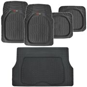 5pc Deep Dish All Weather Hd Rubber Mats Package - Floor Liners Cargo Mat, Black