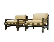 Pair Of Leather Lounge Chairs By Carl Straub 1960s Sessel Leder Oak 60s 60er