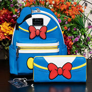 Nwt Loungefly Disney Donald Duck Cosplay Mini Backpack And Wallet Set New W Tags