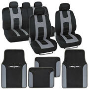 Rome Sport Front And Rear Car Seat Cover Set+vinyl Mats Racing Stripes Dark Gray