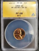 1964 Lincoln Memorial Cent - Doubled Die Reverse - Anacs Certified Pf68rd Die-31