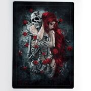 Gothic Red Hair Woman Skull Skeleton Rose Girl Hug Mdf Jigsaw Puzzle 60 Pieces