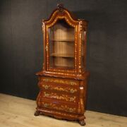 Vitrine Furniture Bookcase Dutch Display Cabinet In Inlaid Wood Antique Style