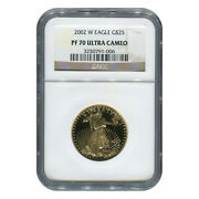 Certified Proof American Gold Eagle 25 2002-w Pf70 Ngc