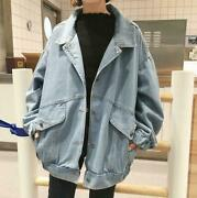 Korea Womenand039s Fashion Washes Blue Loose Jean Jacket Chic Patch Denim Coat H194
