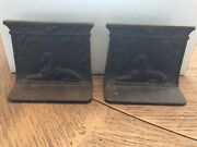 Antique Cast Iron / Metal Sphinx Egyptian Bookends